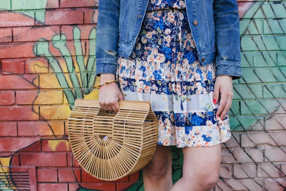 rebecca taylor floral dress, cult gaia gaia's ark bag   grace atwood, the stripe