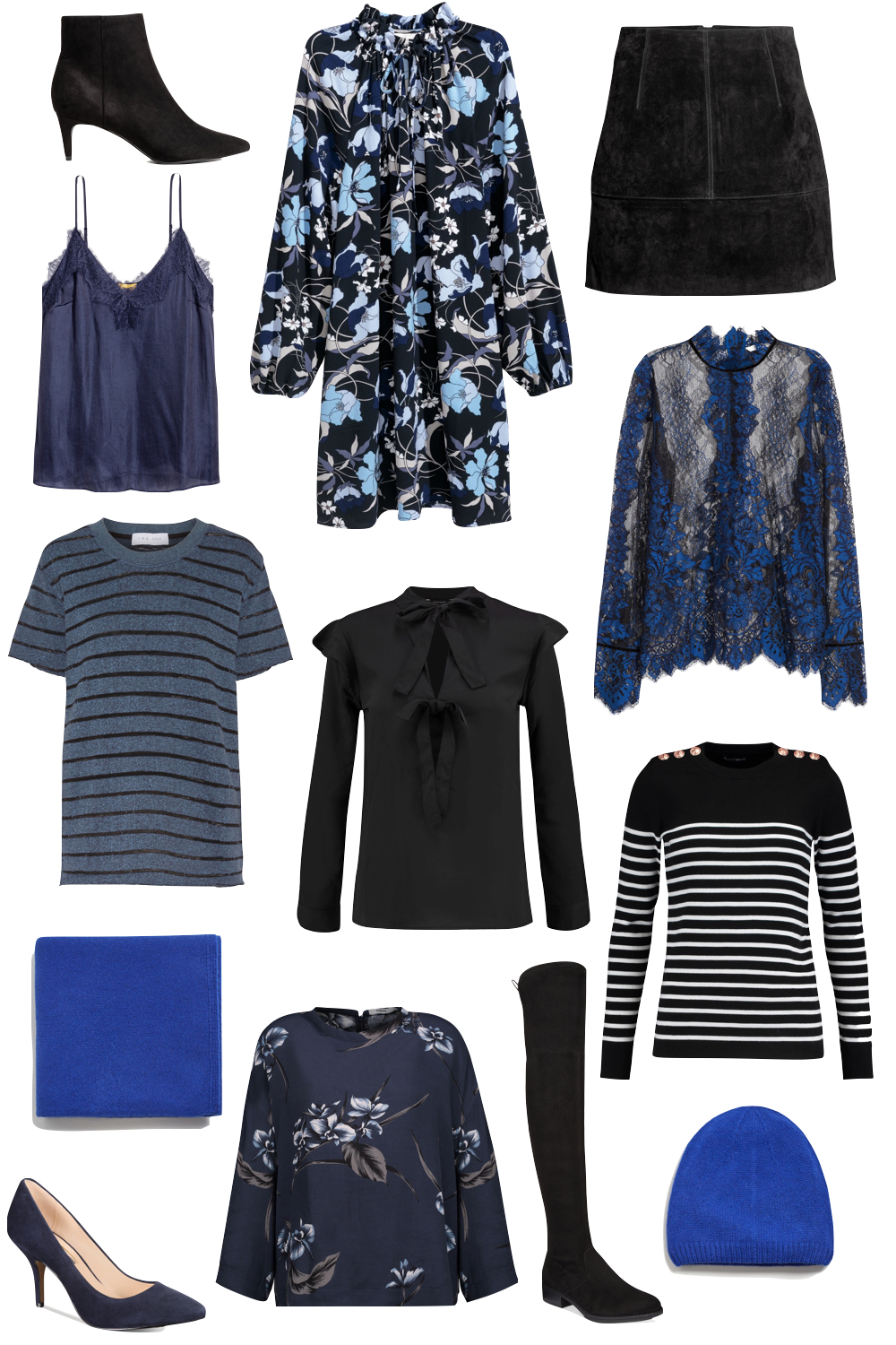 the best black + blue pieces for under $100 | Kelly's Chic - The Stripe