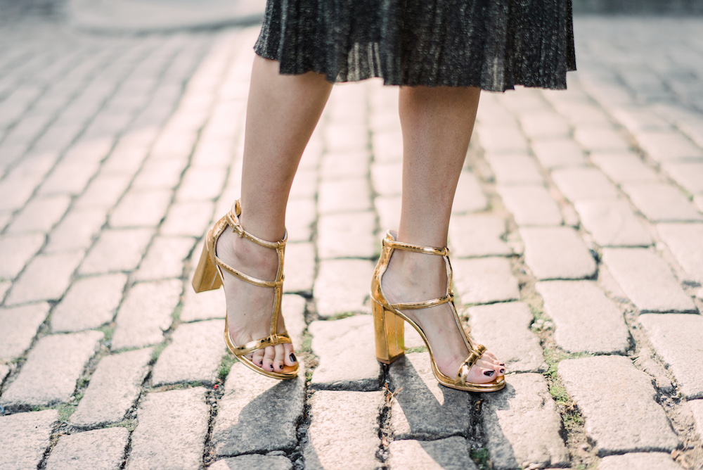 club monaco sparkly midi skirt, kenneth cole metallic sandals | grace atwood, the stripe