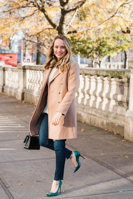 Topshop Nina Faux Fur Coat, Loren Hope Tetris Earrings, Manolo Blahnik Hangisi Pumps in Emerald Green | Grace Atwood, The Stripe