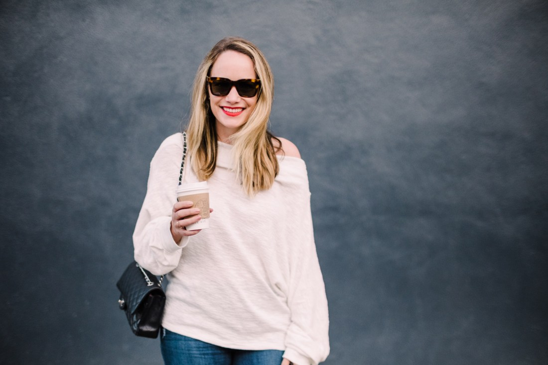 free people off the shoulder sweater at Kinfolk Coffee in Williamsburg Brooklyn | Grace Atwood, The Stripe