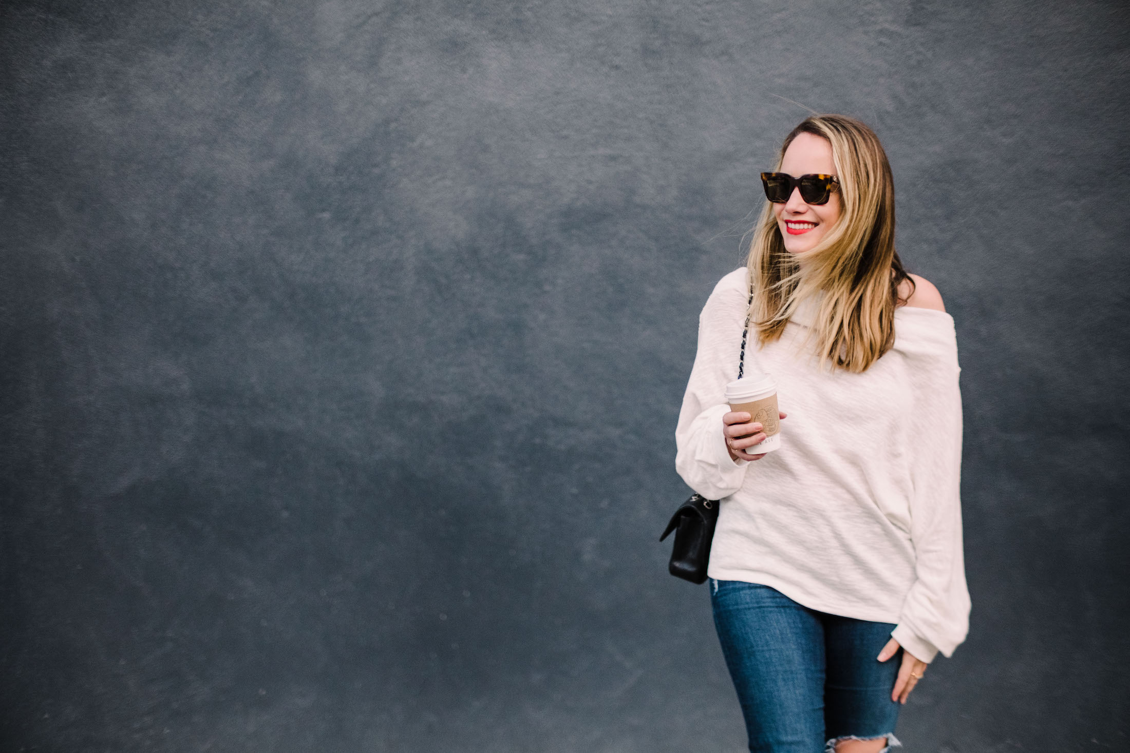 Coffee Run Free People Off The Shoulder Sweater 6 The Stripe