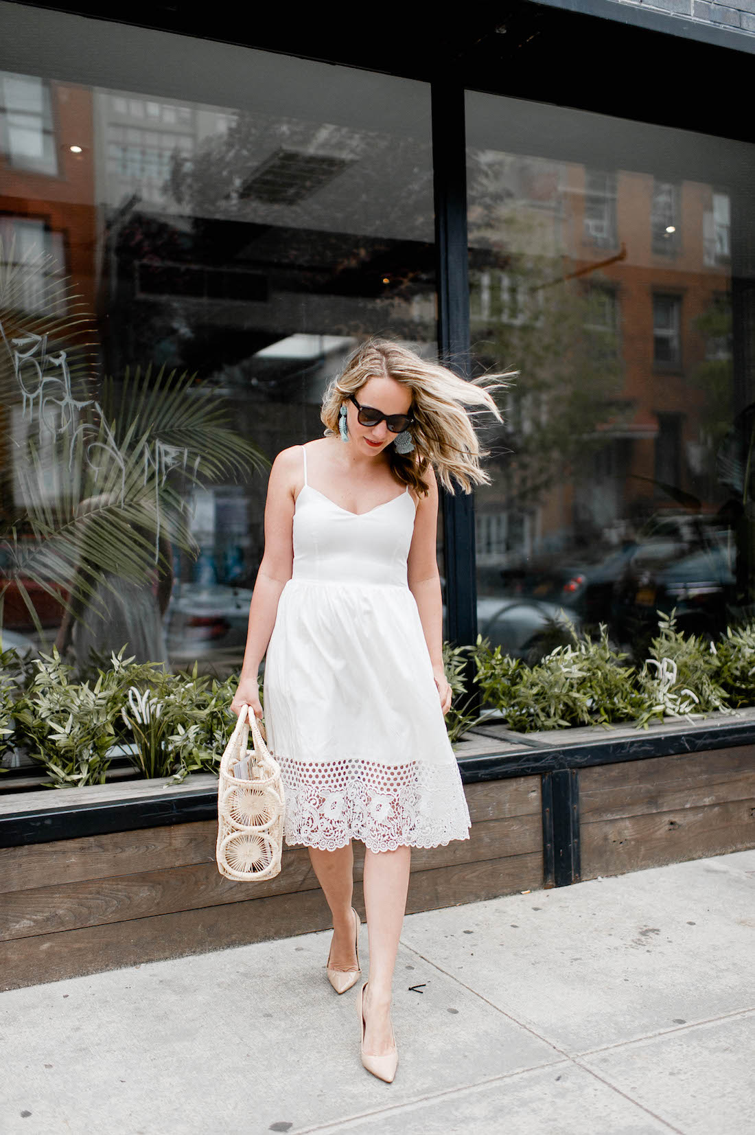 french connection salerno lace hem dress, mar y sol fortaleza straw tote   grace atwood, the stripe