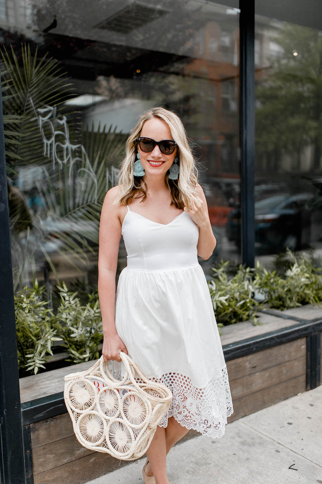 french connection salerno lace hem dress, mar y sol fortaleza straw tote | grace atwood, the stripe
