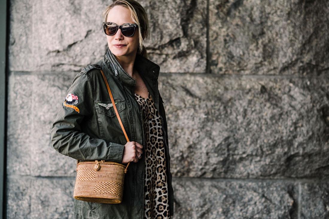 ATM Anthony Thomas Melillo Leopard Silk Slip Dress - Zadig & Voltaire Virginia Grunge Military Jacke - Bembien® Harper bag J.CREW