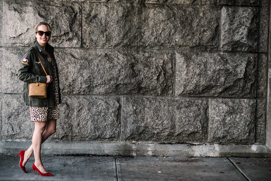 ATM Anthony Thomas Melillo Leopard Silk Slip Dress - Zadig & Voltaire Virginia Grunge Military Jacket - BB' Pointy Toe Pump MANOLO BLAHNIK - Bembien® Harper bag J.CREW  - The Stripe
