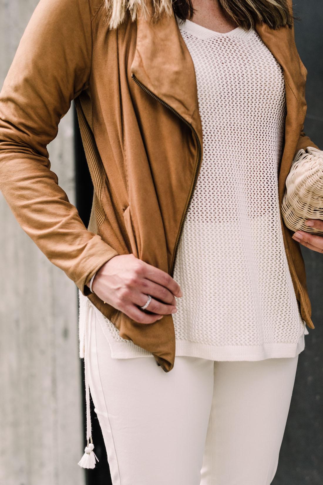 The Stripe - Talbots Sweater // Vince Leather Jacket // Talbots Pants // Wicker Clutch // Manolo Blahnik Pumps
