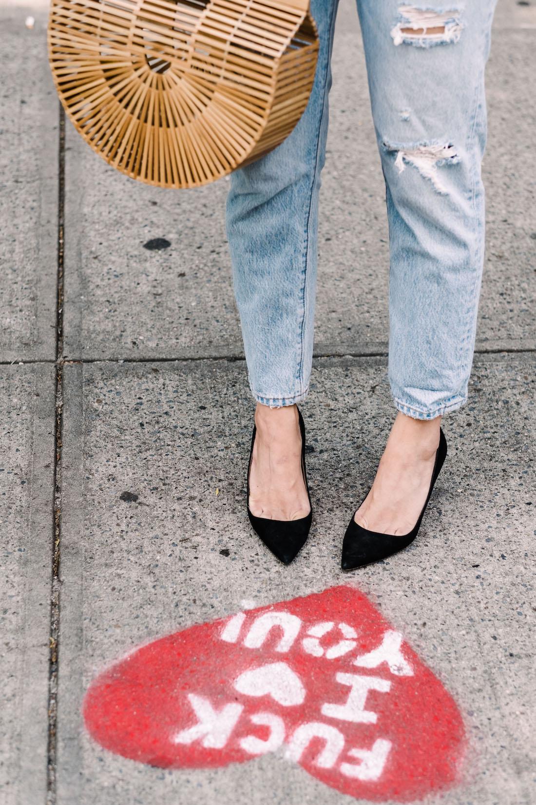 Outfit Details: Levi's Jeans // Cult Gaia Bag // Manolo Blahnik Heels  - The Stripe