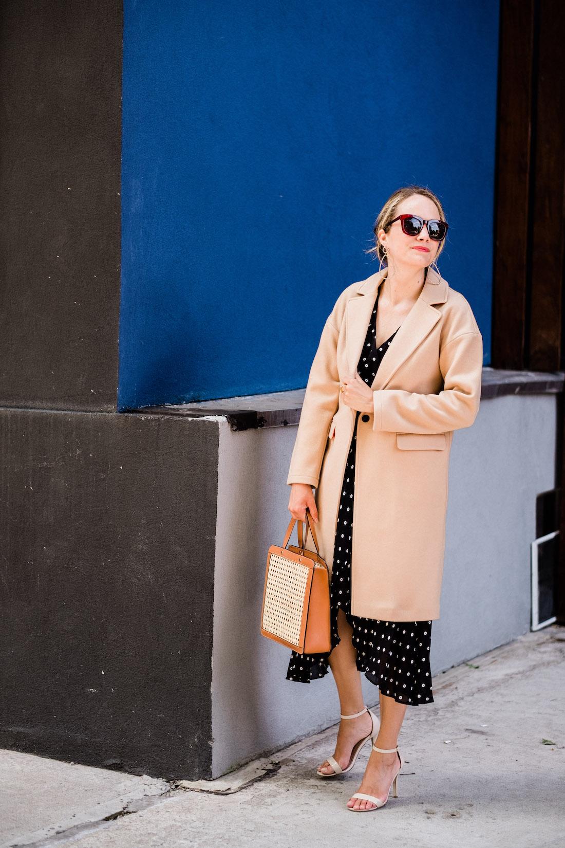 Dotted Faux Wrap Midi Dress