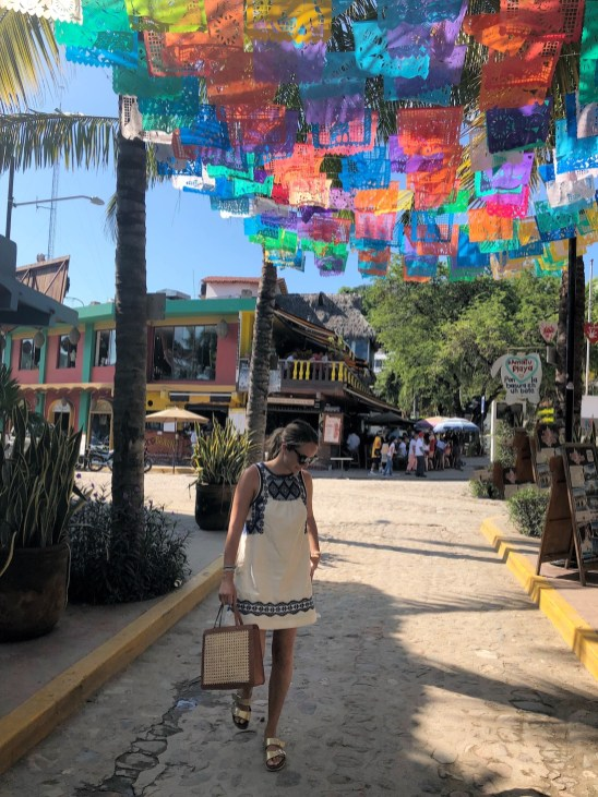 grace atwood styles a madewell embroidered dress in sayulita, mexico