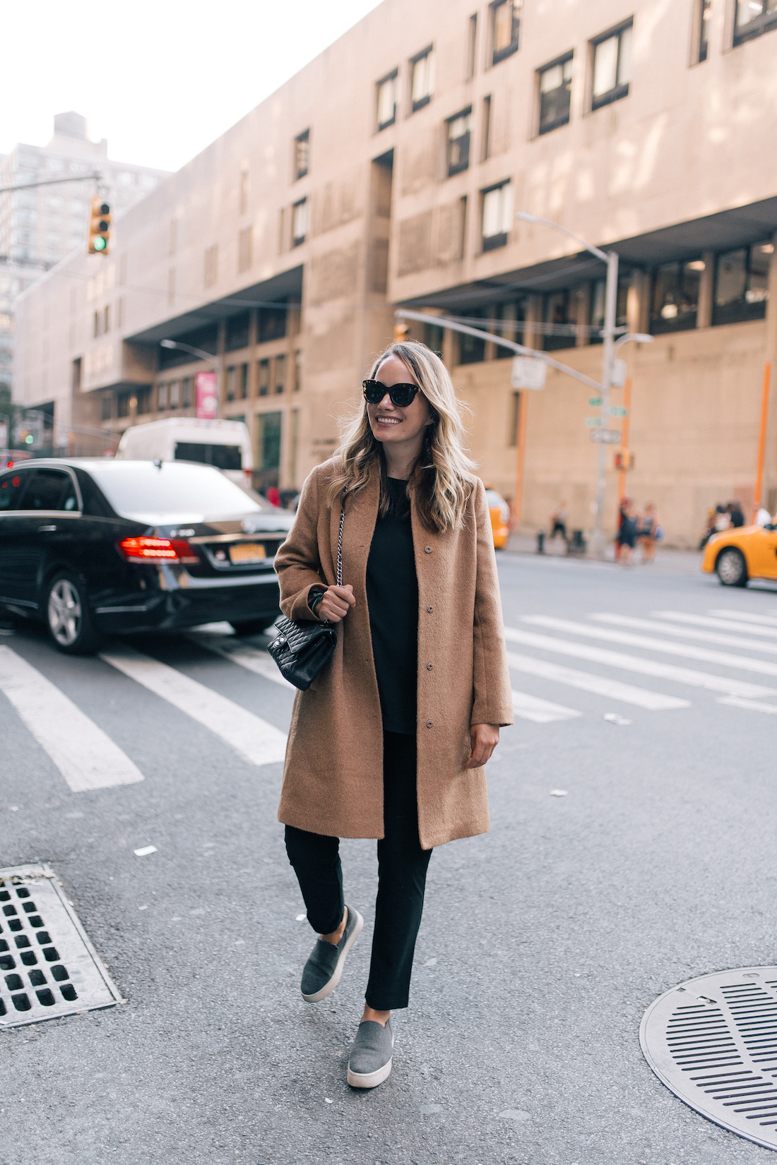 Outfit Details: Eileen Fisher Shell //Eileen Fisher Slim Fit Pants// Vince Sneakers// Eileen Fisher Coat// Vintage Chanel Purse// Krewe Sunglasses