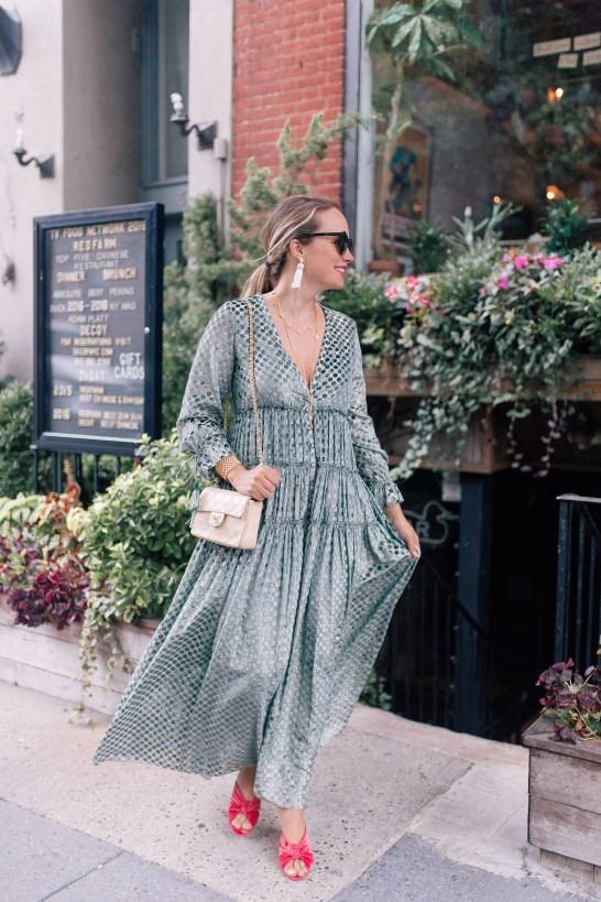 Rococo Sand Dress // Chanel Purse // Julie Vos Necklaces // Julie Vos Cuff // Hart Tassel Earrings // Loeffler Randall Coco Heels // Karen Walker Sunglasses