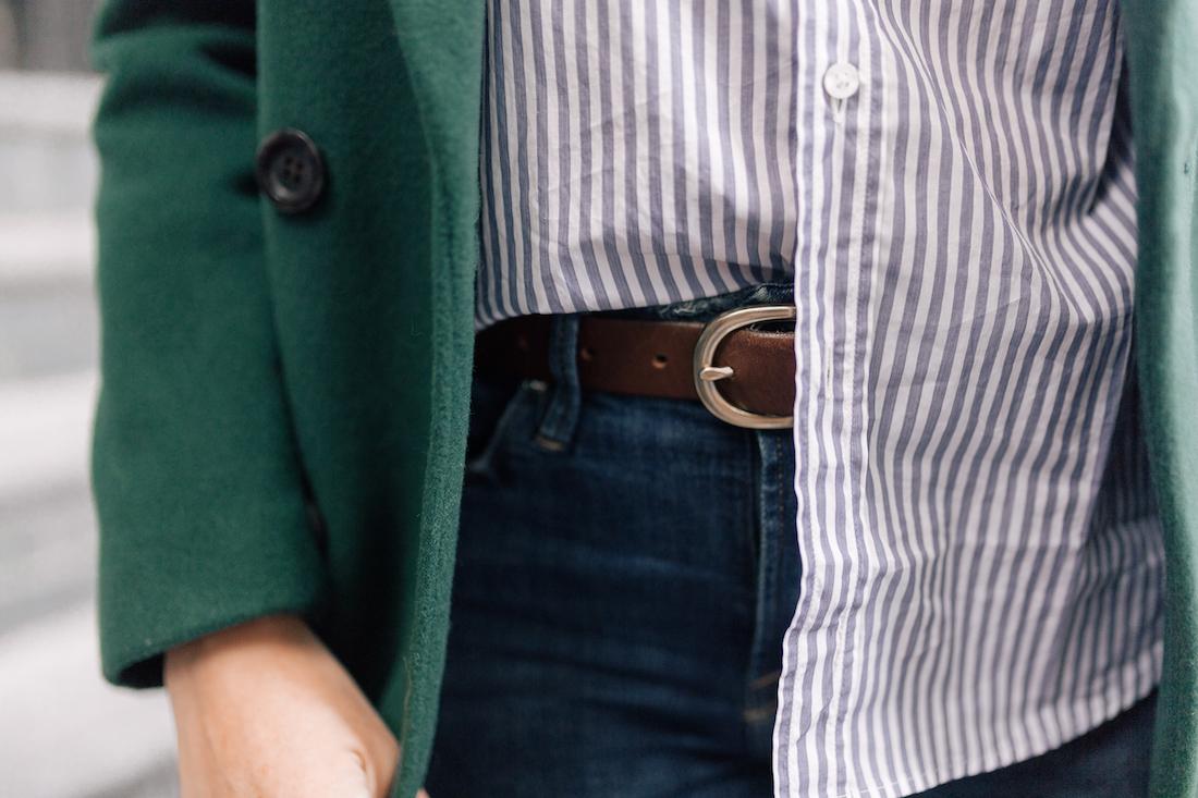 Frank & Eileen Classic Button Down Shirt // Good American Jeans // J.Crew Belt