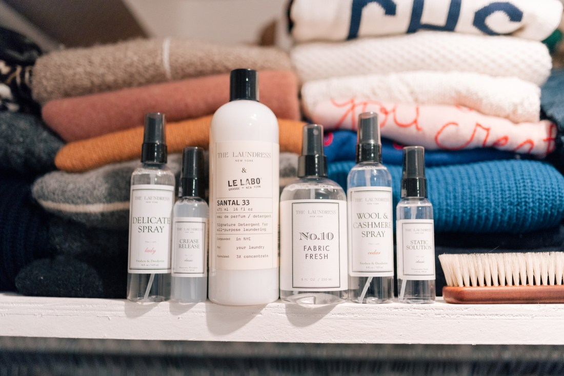 A few of my Laundress go-to products: Delicate Wash, Crease Release, Santal 33 Detergent (FAVORITE!), Wool & Cashmere Spray and Static Solution. I also really love their Cashmere Brush (for removing lint + pills) + Lavender Pouches!
