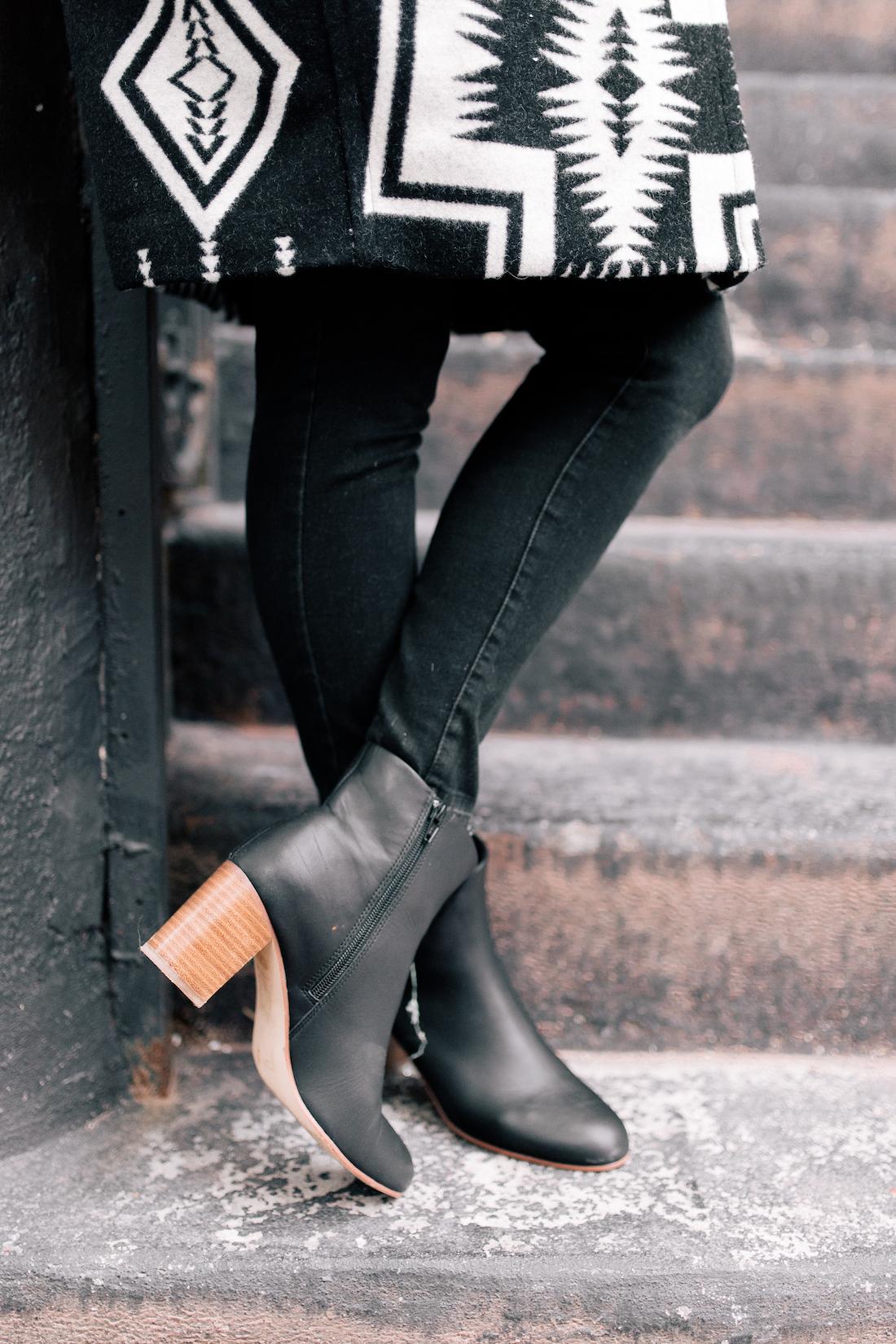 Pendleton Coat(c/o) //American Eagle Jeans //Soludos Boots