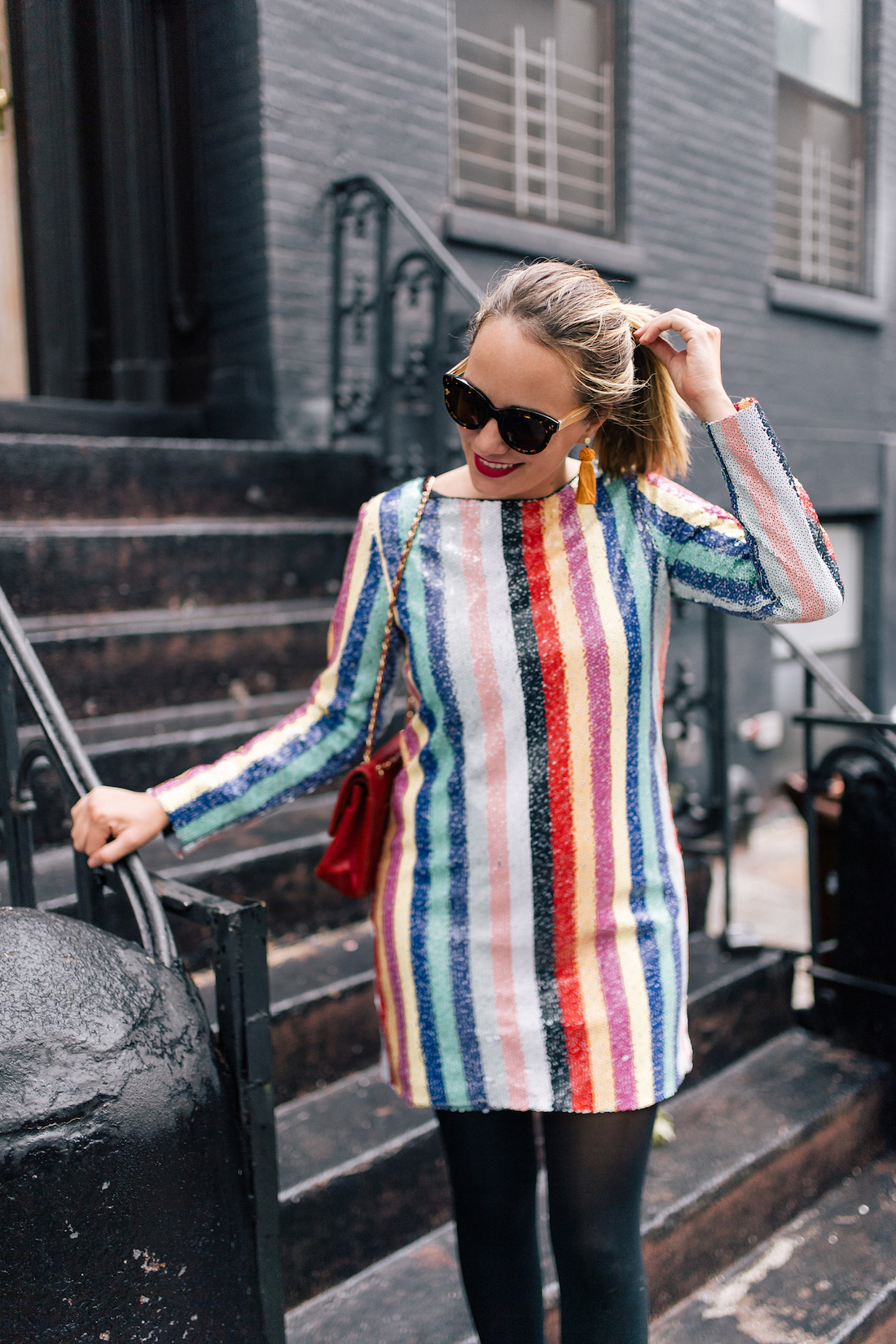 Mestiza New York Sequin Rainbow Striped Mini Dress