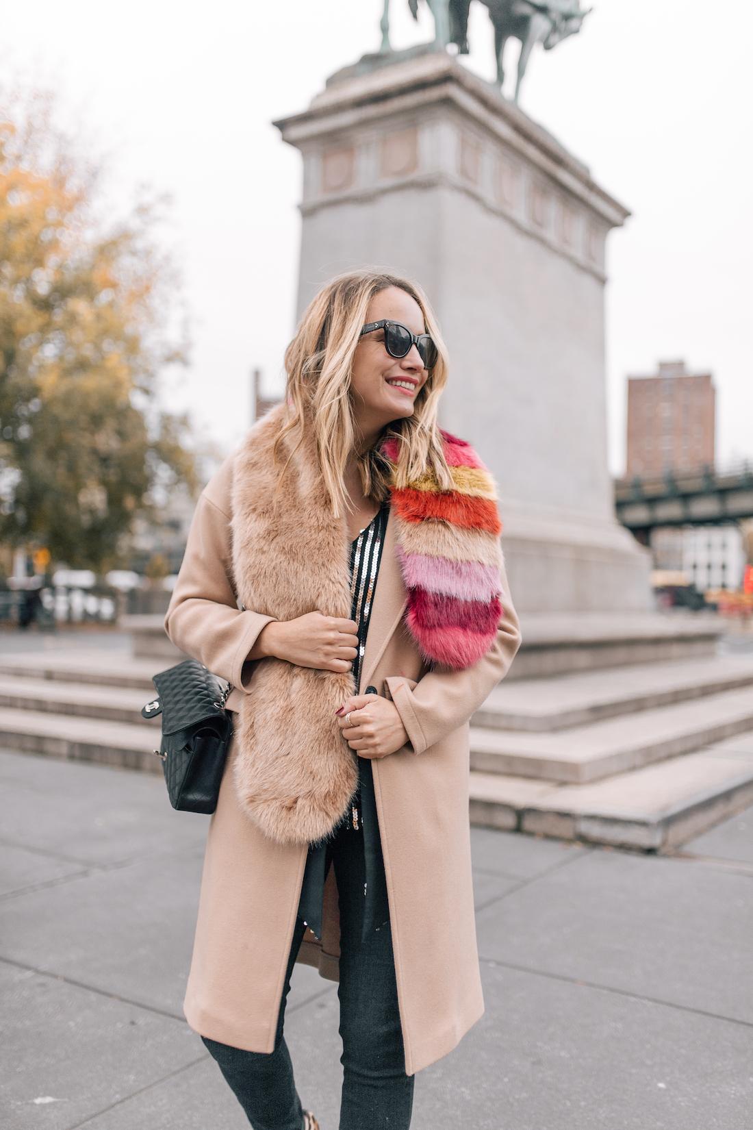 Outfit Details:Rixo London Sequin Top(size up!) //Paige Jeans //Topshop Coat(on sale!!) //Zara Faux Fur Scarf