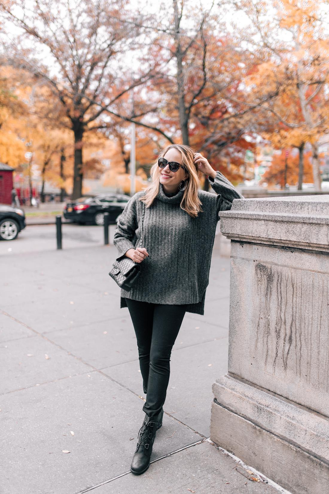Outfit Details:French Connection Turtleneck // NYDJ Leggings // Polaroid Sunglasses // Sorel Boots // Chanel Purse