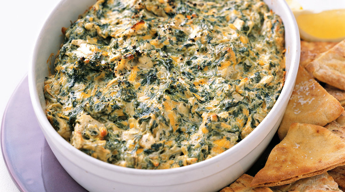 the ten best make ahead appetizers for all your holiday parties. | spinach and artichoke dip from Real Simple Magazine