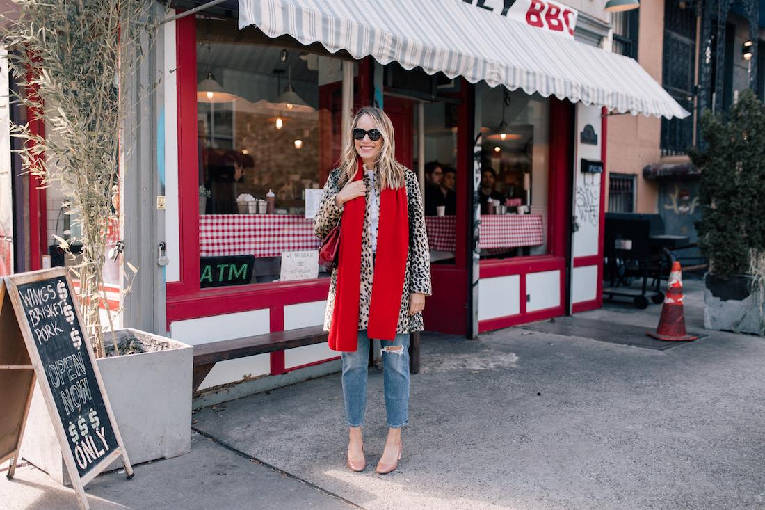 J. McLaughlin Leopard Coat  // Aether Scarf // x Karla Tee // Levi's Jeans // Vintage Chanel Purse // Ferragamo Heels // Polaroid Sunglasses// BaubleBar Earrings