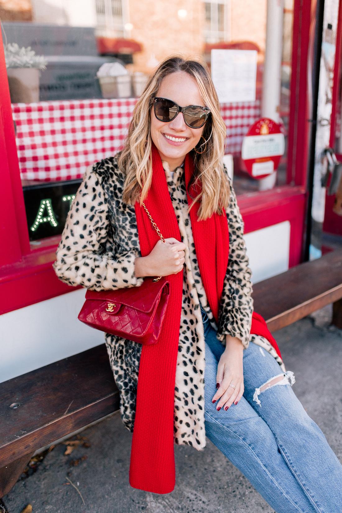 J. McLaughlin Leopard Coat  // Aether Scarf // x Karla Tee // Levi's Jeans // Vintage Chanel Purse // Polaroid Sunglasses// BaubleBar Earrings