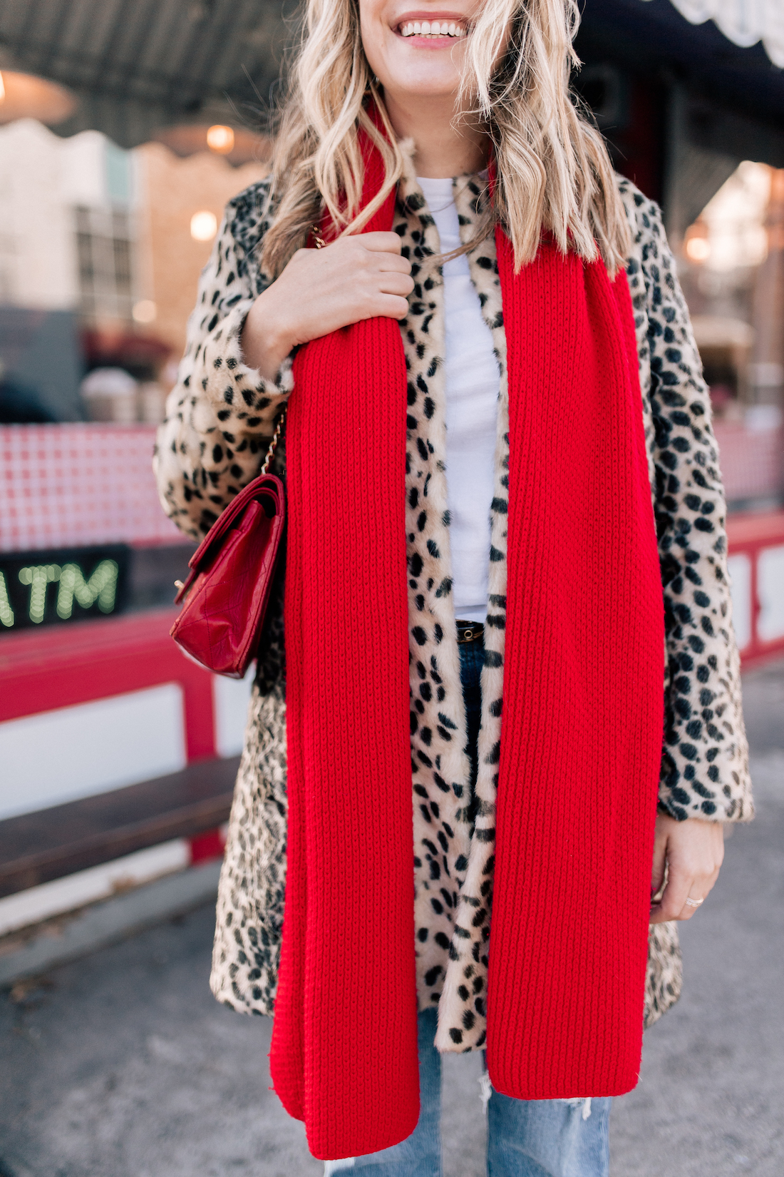 J. McLaughlin Leopard Coat  // Aether Scarf // x Karla Tee // Levi's Jeans // Vintage Chanel Purse
