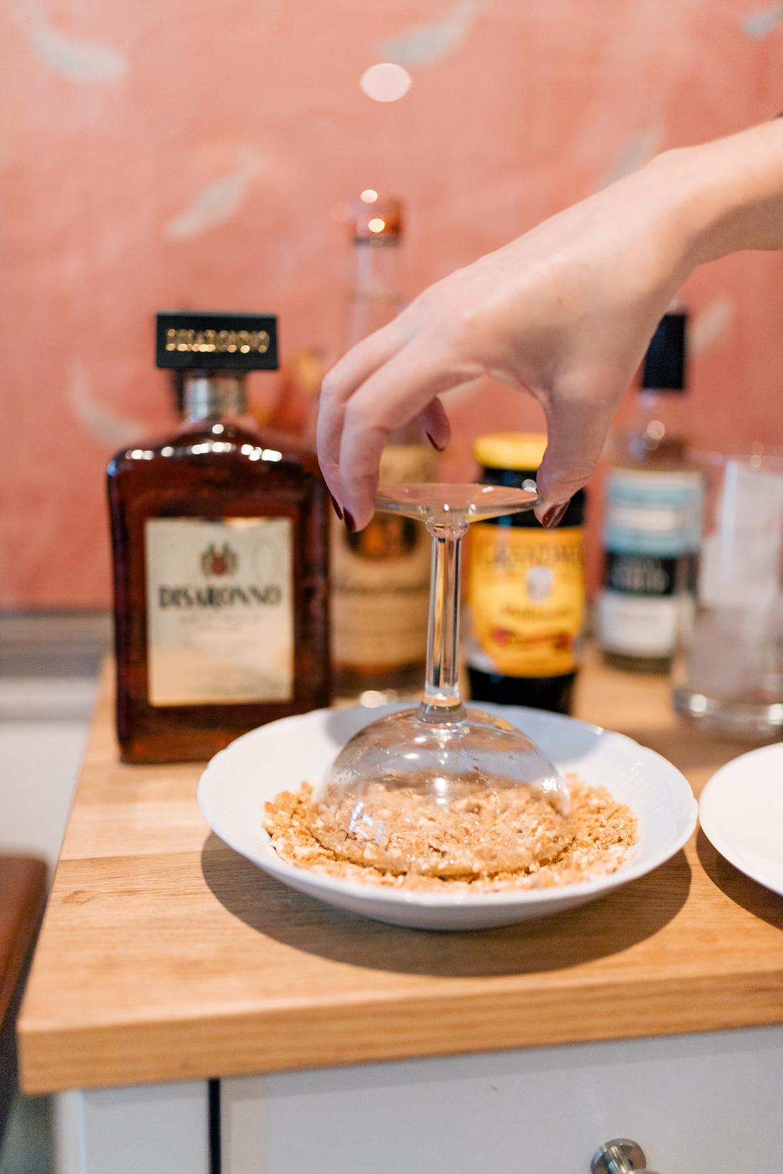 Christmas Martini Recipe - Step 1: Make the Graham Cracker Rim