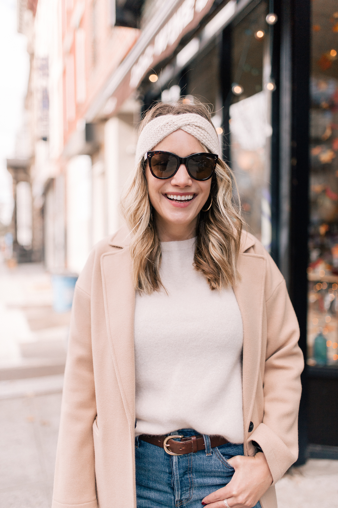 Outfit Details:Topshop Coat(exact) // Eileen Fisher Sweater(c/o) // Eileen Fisher Headband (c/o)// Levi's Jeans // Polaroid Sunglasses //