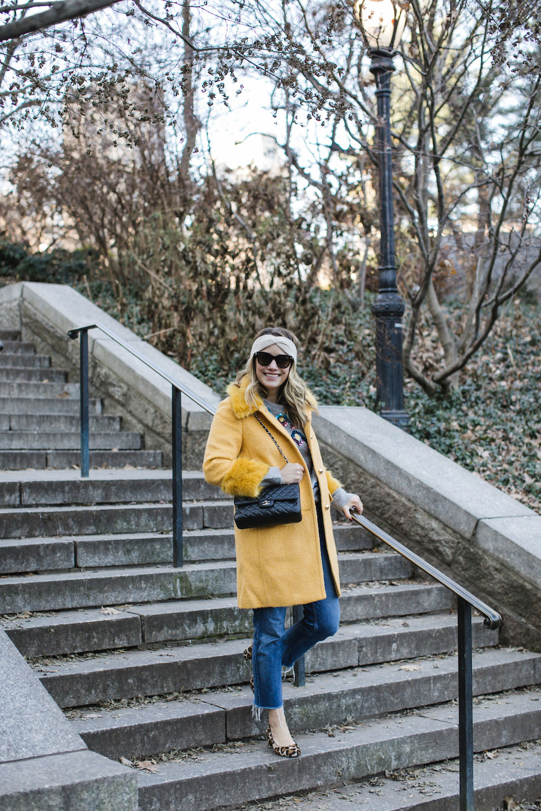Kate Spade Coat // Zara Sweater // Re/Done Denim // Margaux Heels // Eileen Fisher Headband // Chanel Bag // Polaroid Sunglasses
