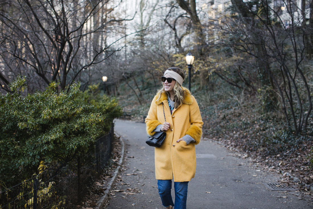 Outfit Details:Kate Spade Coat // Zara Sweater // Re/Done Denim //  Eileen Fisher Headband // Chanel Bag // Polaroid Sunglasses