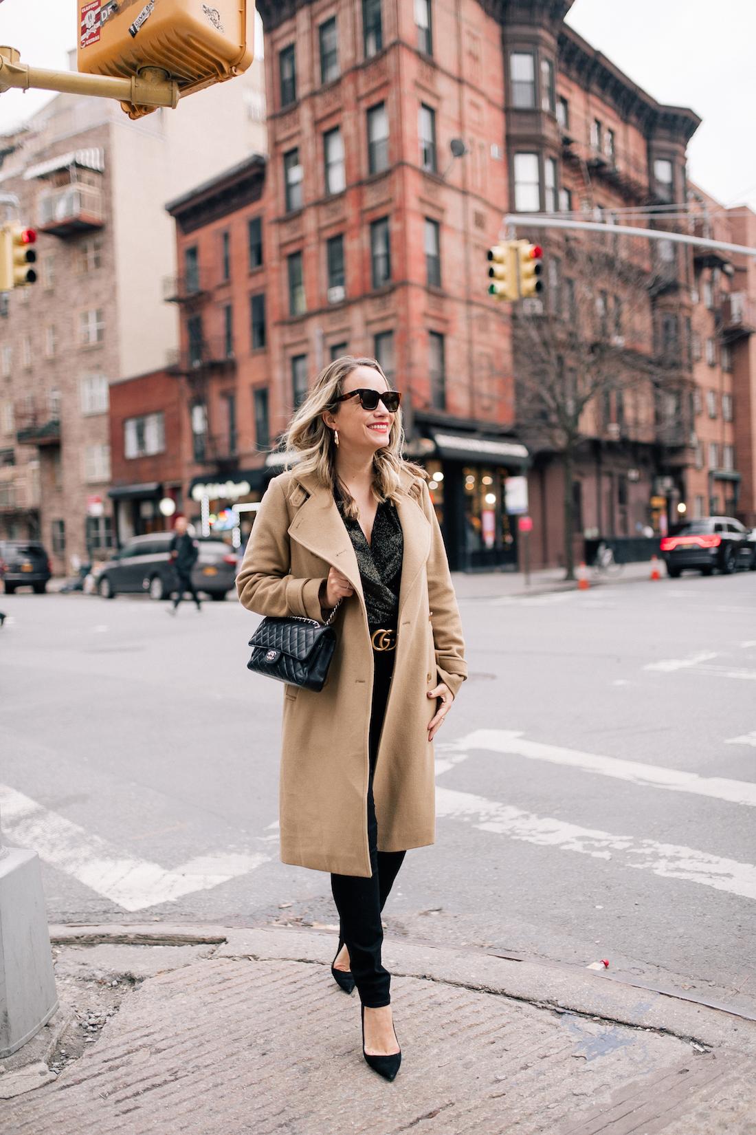 Outfit Details:Vince Coat // Zara Sparkly Velvet Bodysuit // Paige Jeans // Gucci Belt // Chanel Purse // Manolo Blahnik Pumps // Celine Sunglasses (exact) // BaubleBar Hoop Earrings