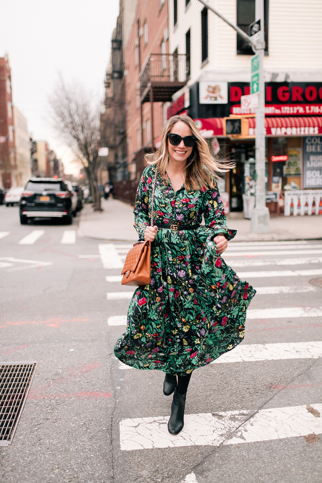 Grace Atwood -  ASOS Floral Maxi Dress // Express Tights // Soludos Boots (on sale!)// Rachel Comey Earrings // Chanel Purse // Gucci Belt // Quay Sunglasses