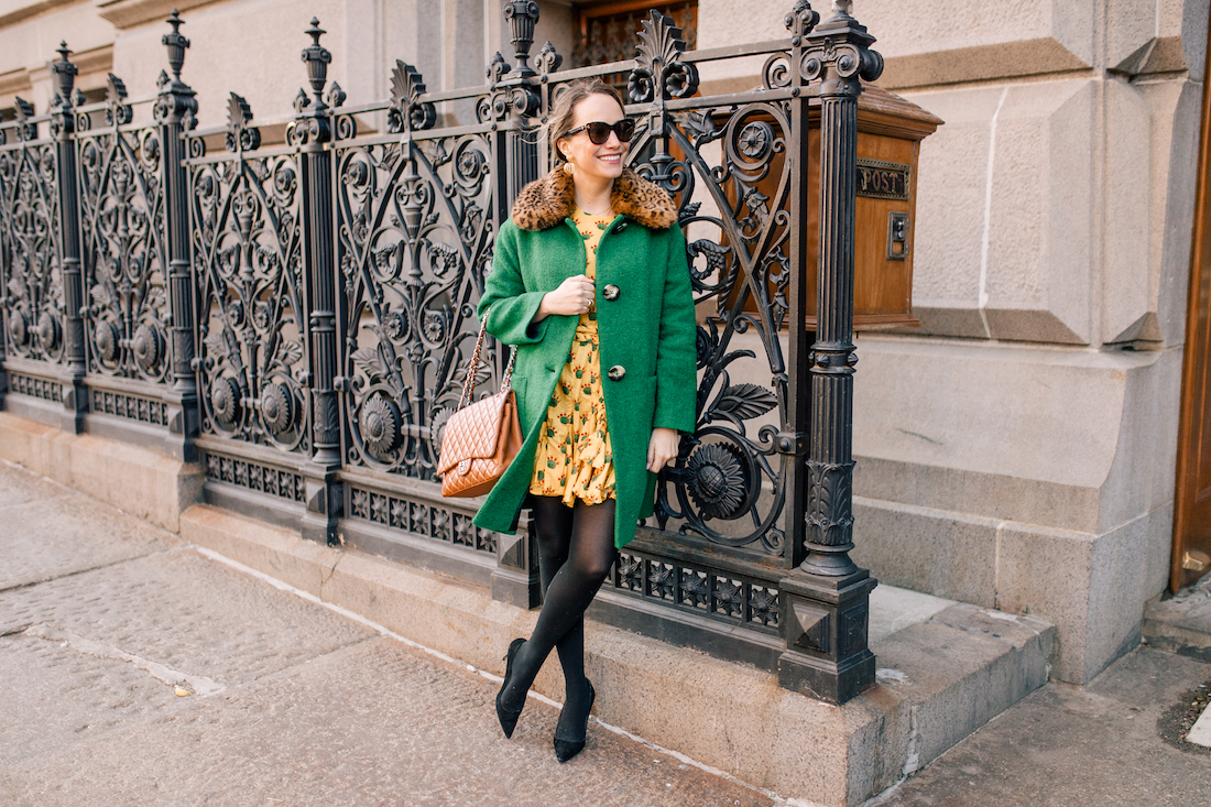 Grace Atwood's Outfit Details: L.K. Bennett Coat // Rhode Resort Ella Dress // Express Tights // Manolo Blahnik Pumps // Chanel Purse // Polaroid Sunglasses // Tuckernuck Earrings