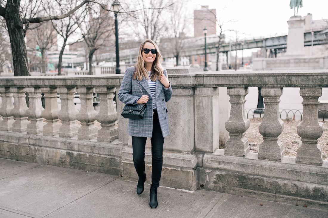 "OUTFIT DETAILS: La Vie Rebecca Taylor Coat // Saint James Tee // Paige Jeans // Gucci Belt // Soludos Boots // Polaroid Sunglasses // Lipstick: Charlotte Tilbury in ""Bitch Perfect"""