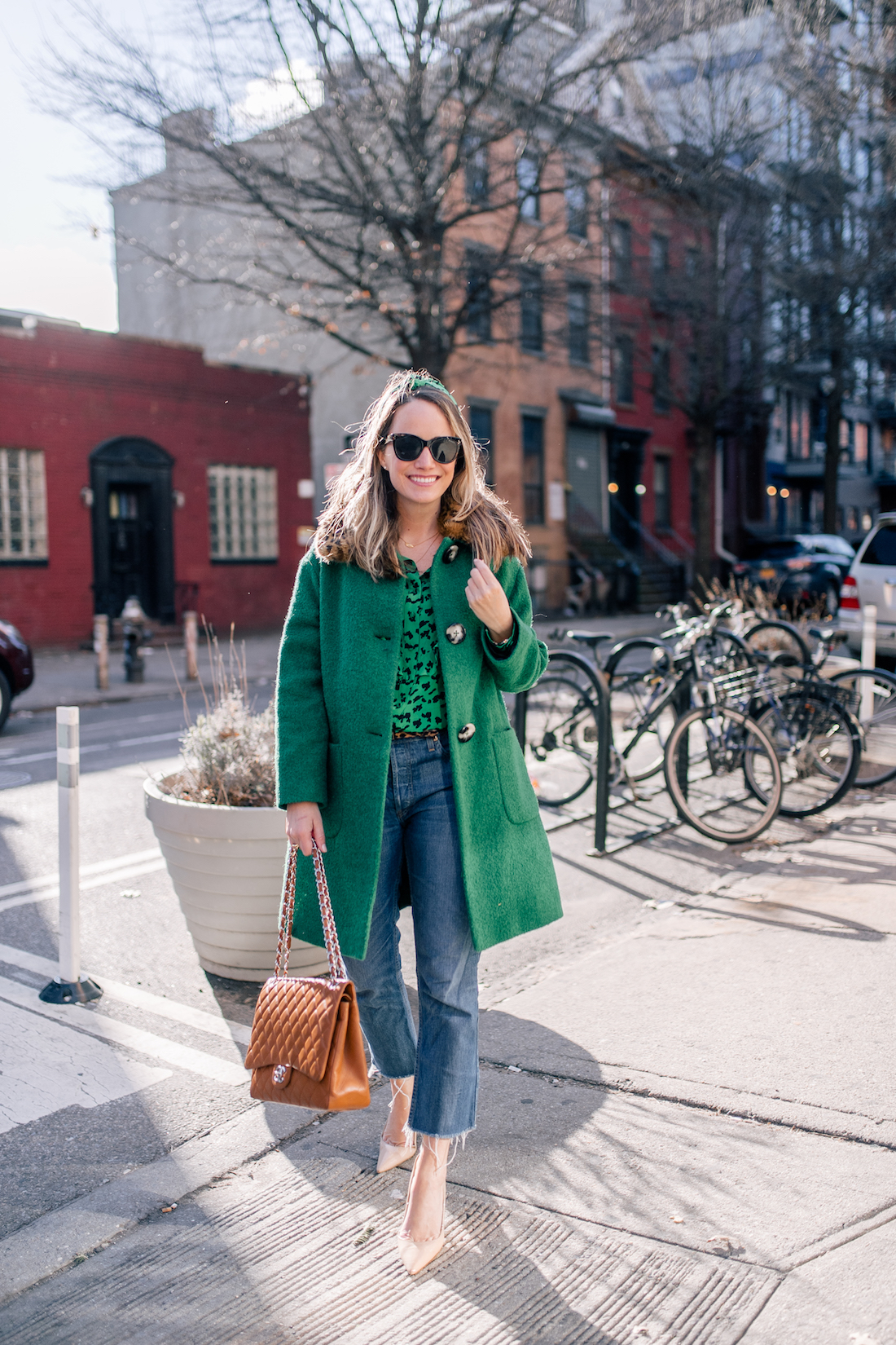 Outfit Details: L.K. Bennett Coat // Tanya Taylor Headband // Re/Done Jeans // Manolo Blahnik Pumps // Chanel Purse // Polaroid Sunglasses