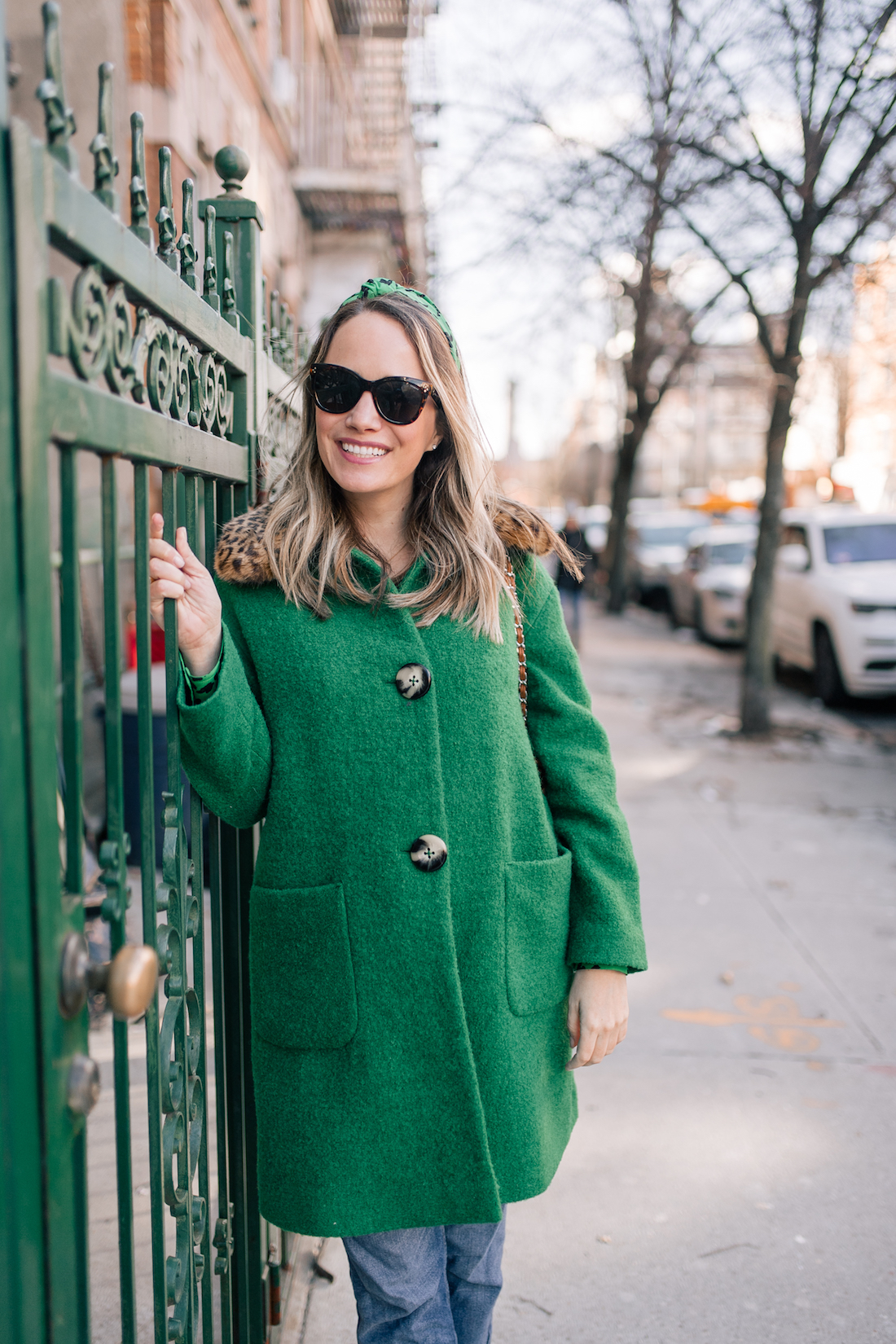 An emerald green outfit