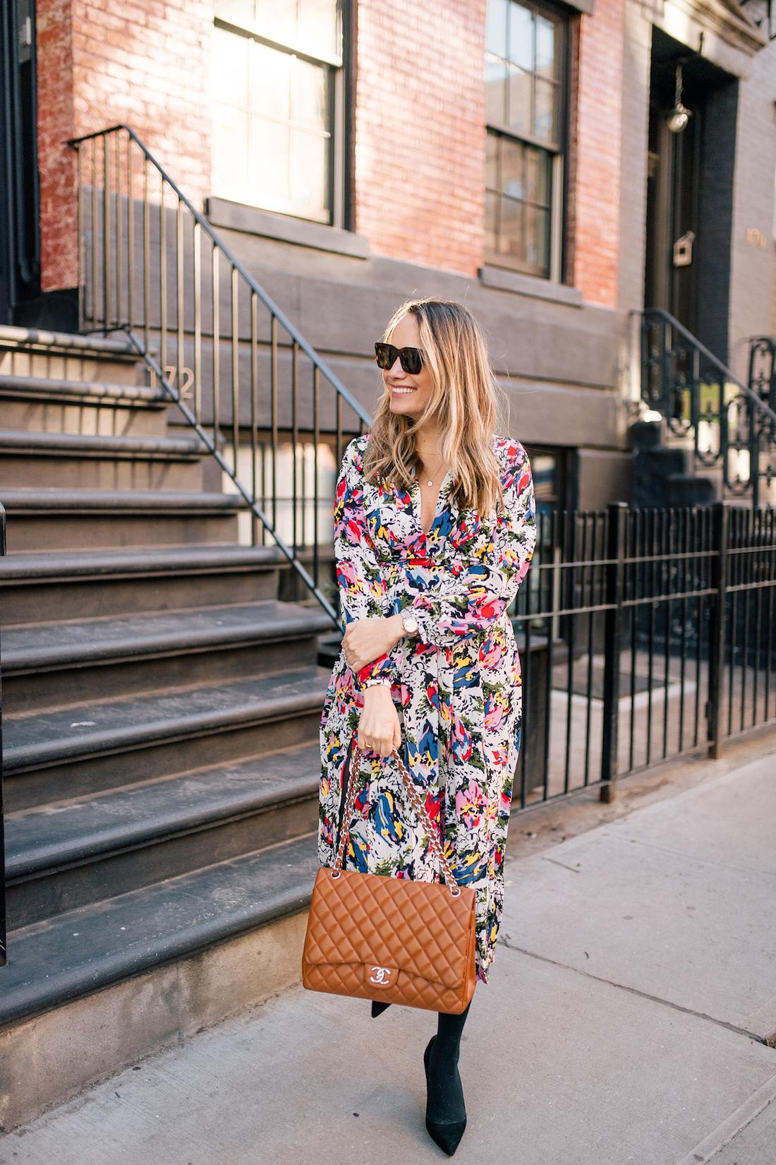 The Stripe's Outfit Details: Rixo Floral Dress // Express Tights // Manolo Blahnik Heels // Chanel Purse // Celine Sunglasses // Tuckernuck Birdcage Earrings