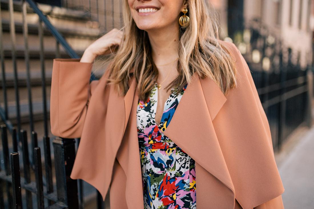 The Stripe's Outfit Details: Malene Birger Coat // Rixo Floral Dress //  Tuckernuck Birdcage Earrings