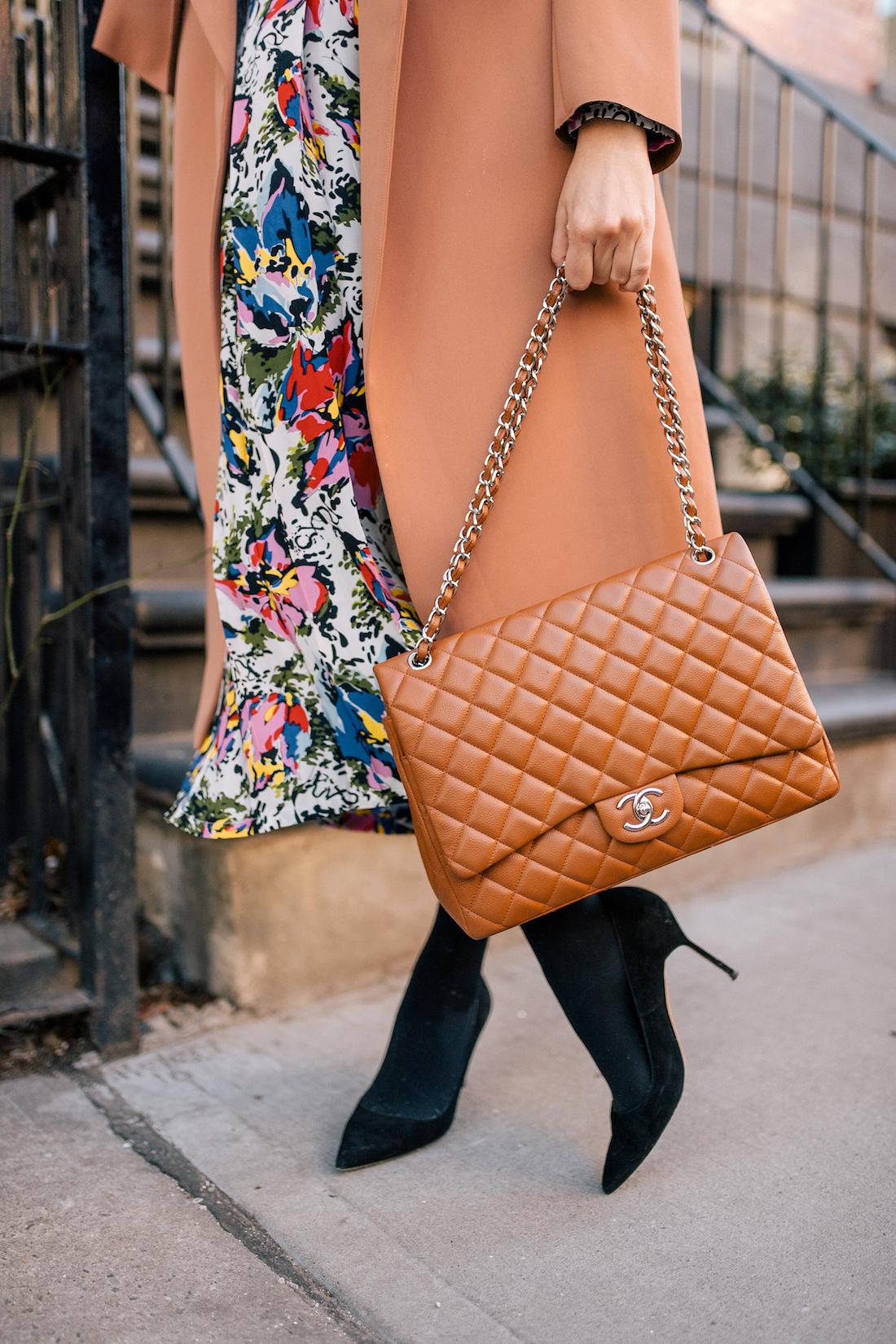 Grace Atwwod's Outfit Details: Malene Birger Coat // Rixo Floral Dress // Express Tights // Manolo Blahnik Heels // Chanel Purse