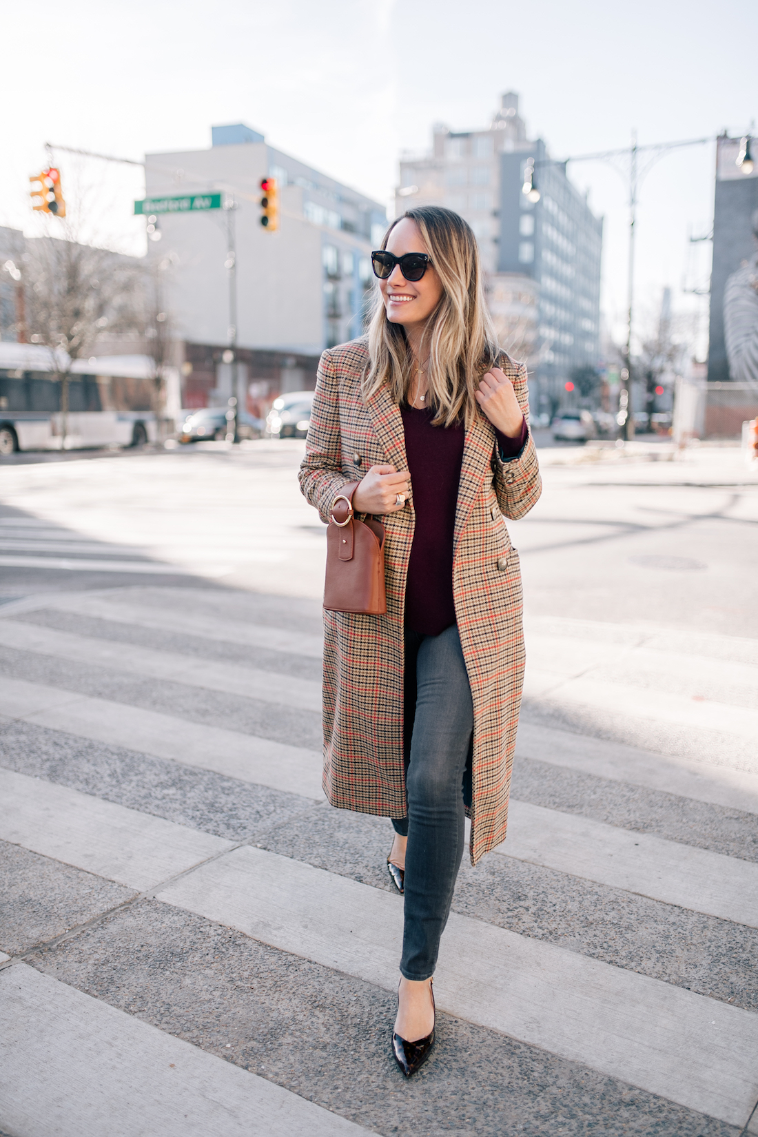 Grace Atwood is sharing a topshop checked coat and halogen cashmere sweater