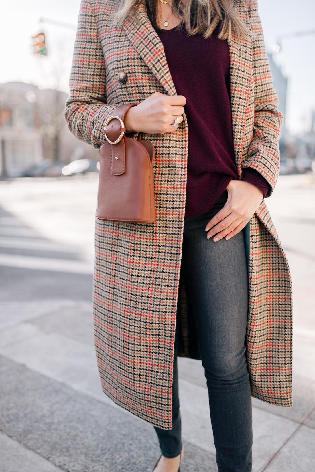 Grace's outfit details: Topshop Coat // Halogen Cashmere Sweater // Paige Jeans // Estee Lalonde x Daisy Jewellery Necklaces // Parisa Wang Bracelet Bag