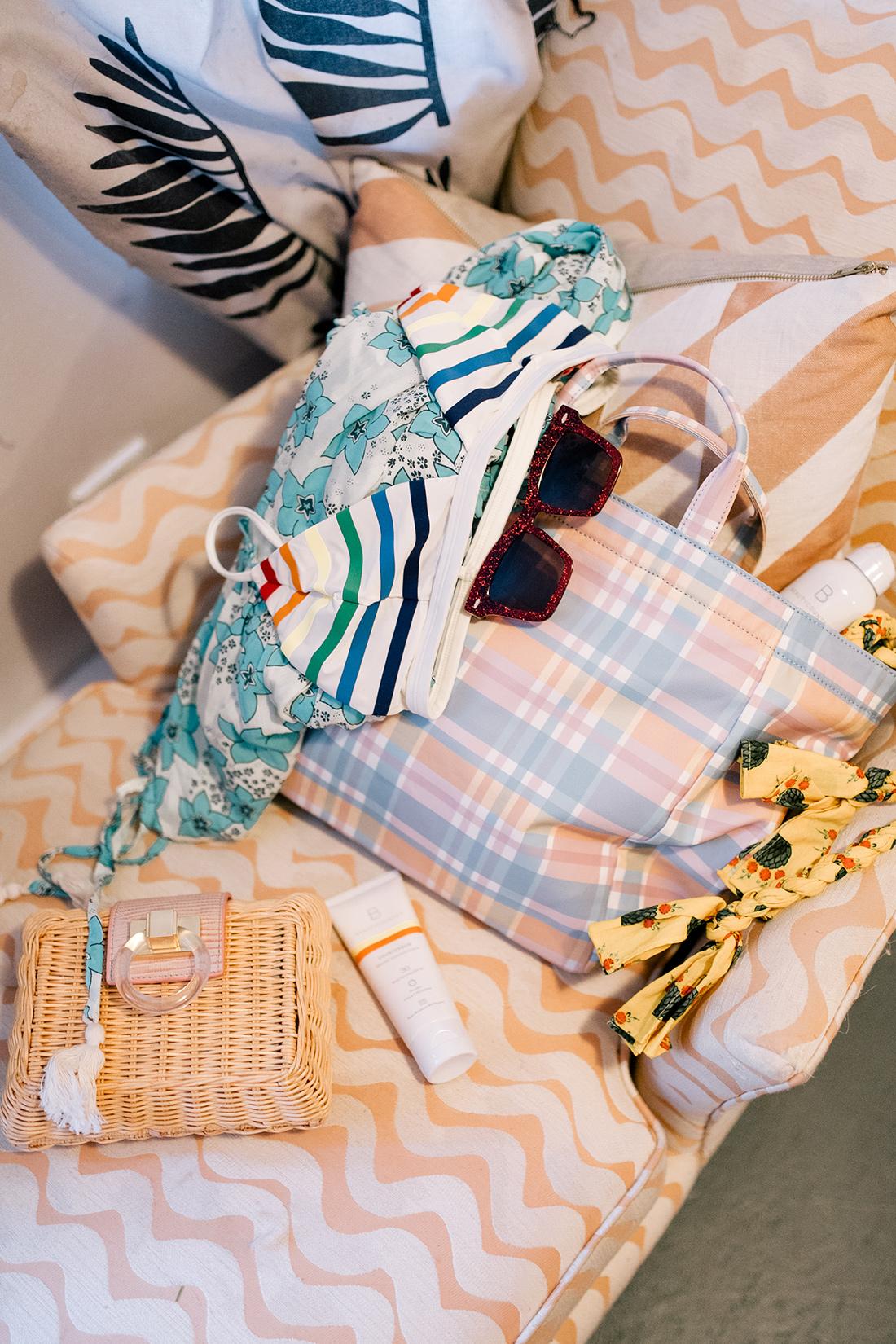 products featured: rainbow bikini top // pamela munson plaid bag (c/o) // pamela munson straw clutch (c/o) // karen walker sunglasses // beautycounter sunscreen (c/o) // rhode resort ella dress