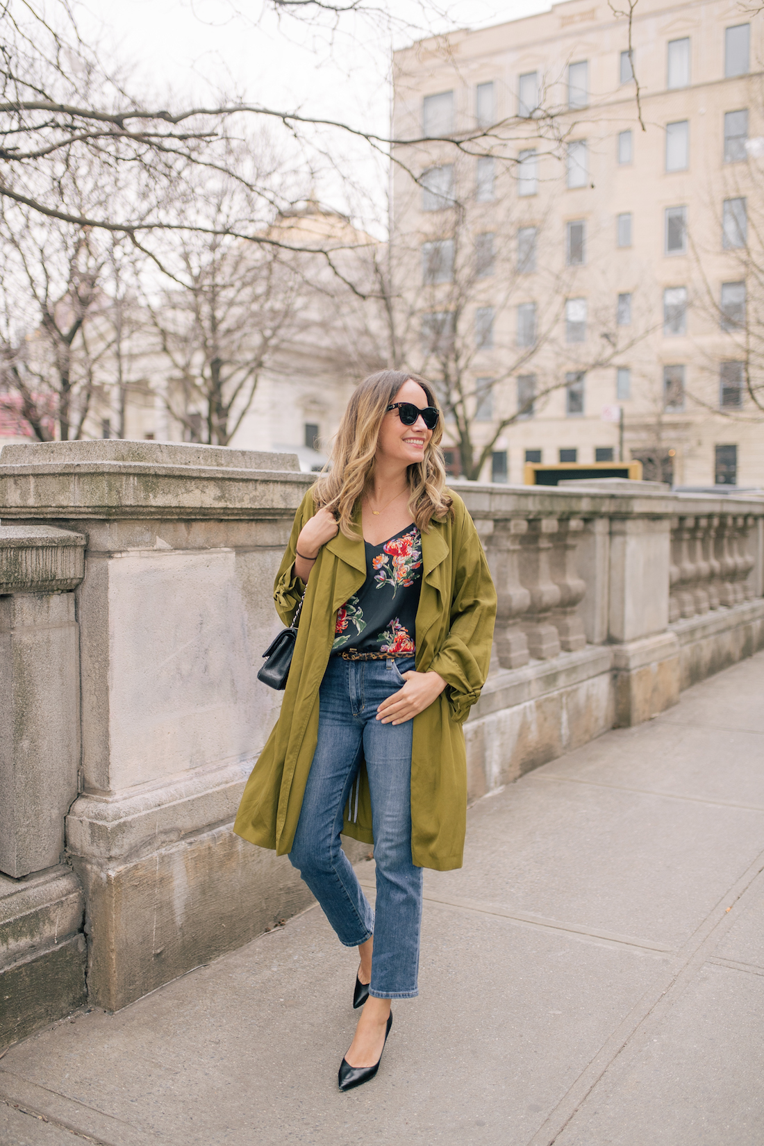 An Easy Everyday Look - Outfit Details: Topshop Trench // Floral Camisole // Joe's Jeans // Sarah Flint Perfect Pumps // Chanel Purse // J.Crew Tortoise Belt // Polaroid Sunglasses // Daisy Jewelry x Estee Lalonde necklace