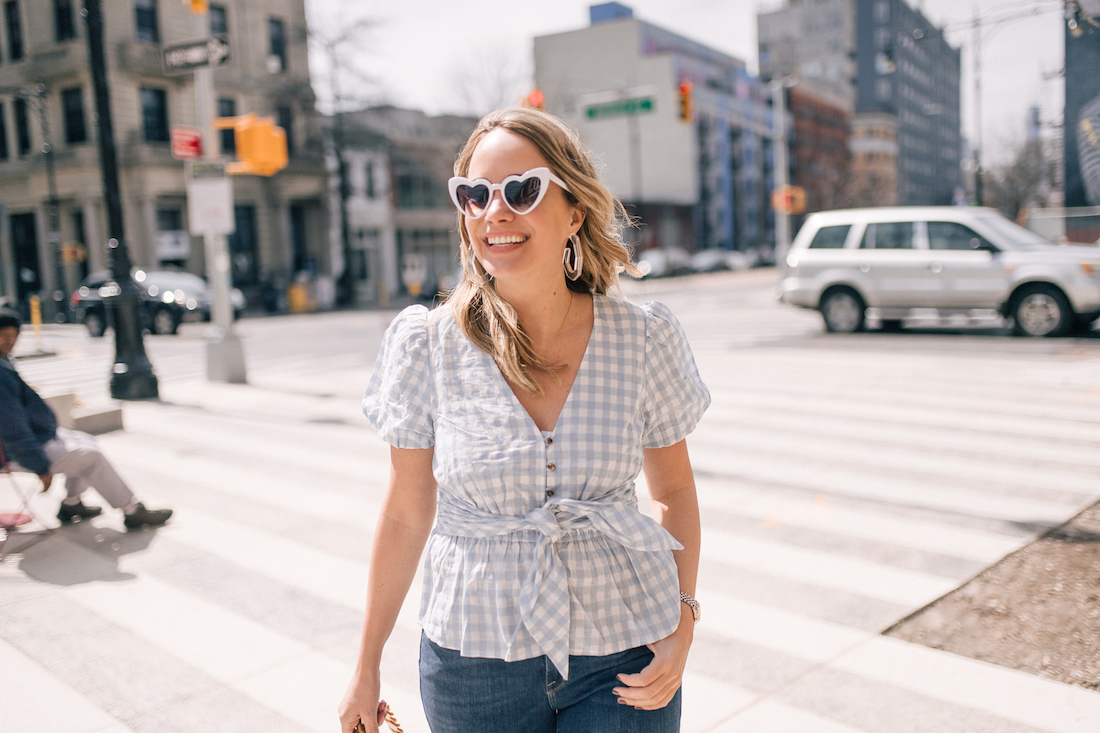 Outfit Details: Anthropologie Gingham Top // Good American Jeans// Free People Sunglasses // Rachel Comey Earrings