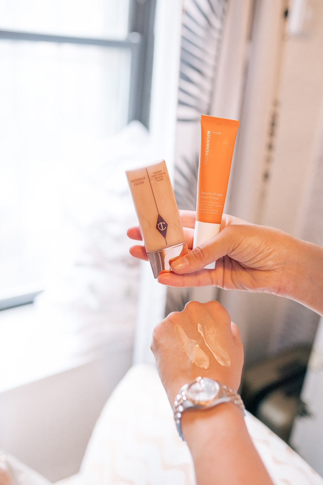 Charlotte Tilbury's Wonderglow Primer and OLEHENRIKSEN's Banana Bright Primer.