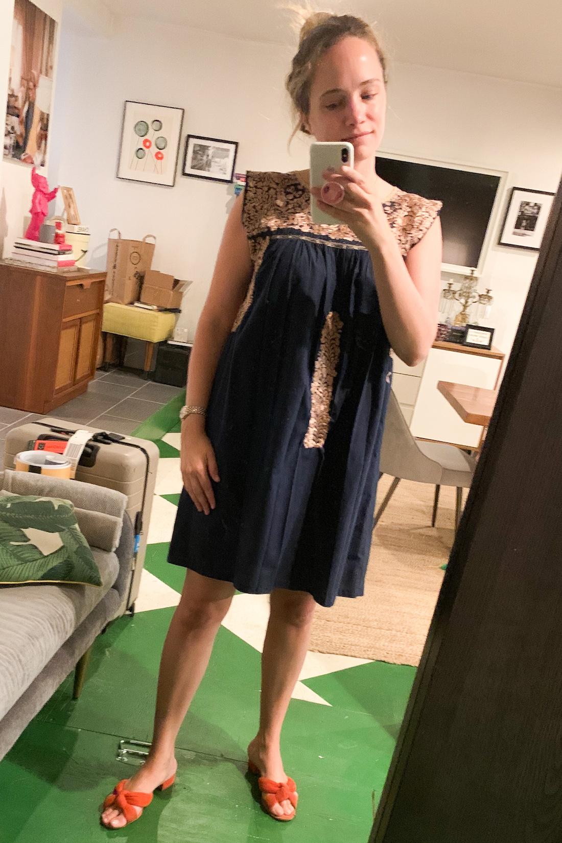 what I wore: Mi Golondrina Dress // Loeffler Randall Slides
