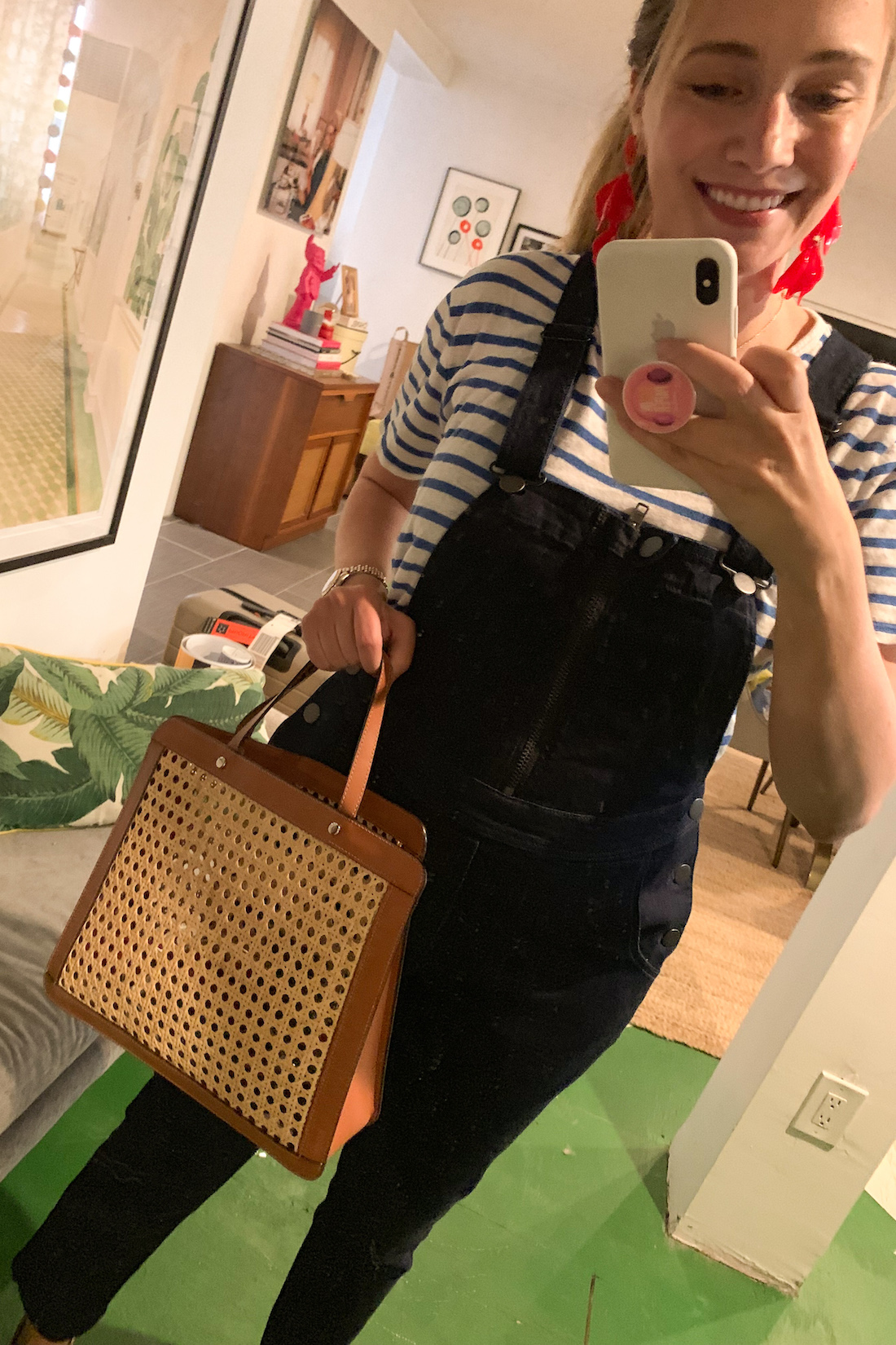 daily outfits - striped shirt and black overalls