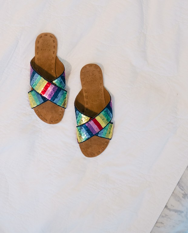 Grace's rainbow sandals are the perfect accent to summer