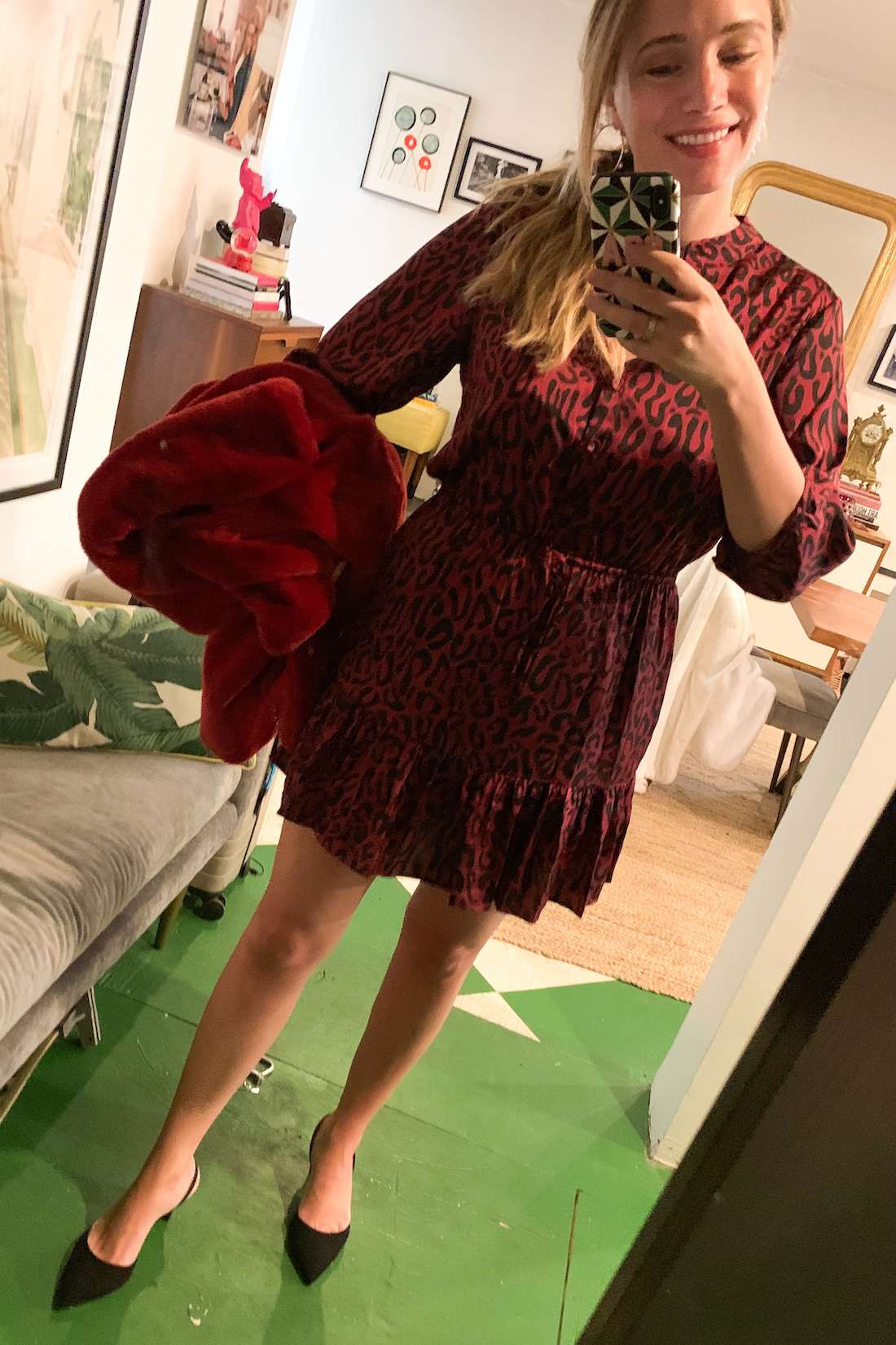a red jacket and a dress