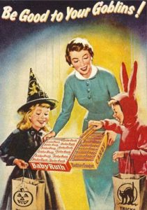 Halloween party planning woman with good candy vintage